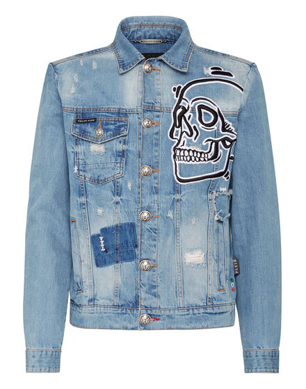 Denim Jacket Outline Skull