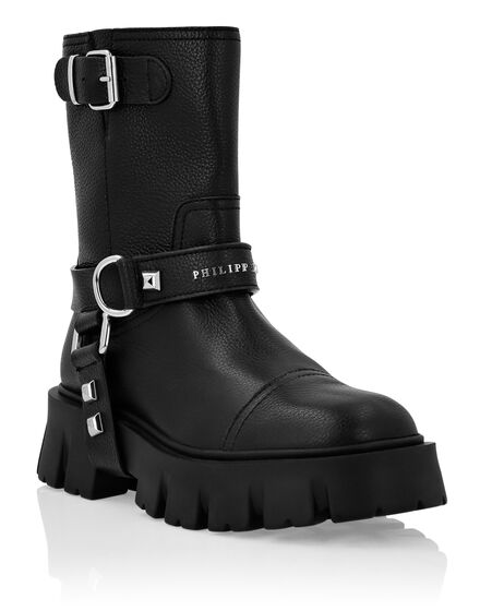 Leather Biker Boots Mid Flat Iconic Plein
