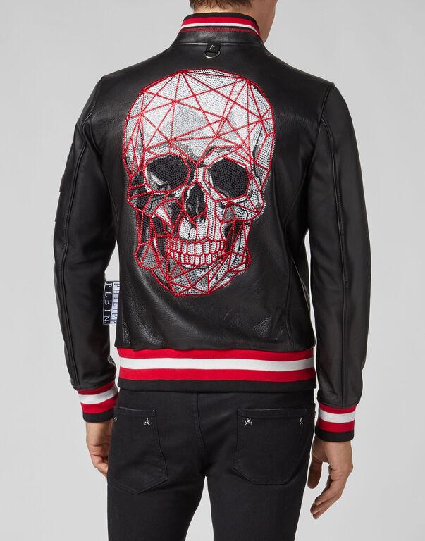 Leather Bomber Skull