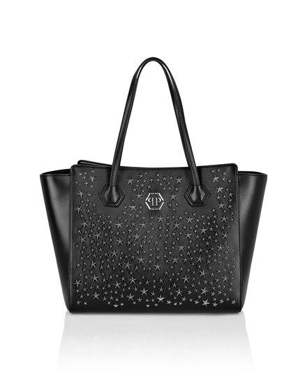 Leather maxi Shoulder Bag studs Stars
