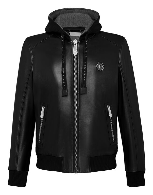 Leather Bomber Hoodie Philipp Plein TM