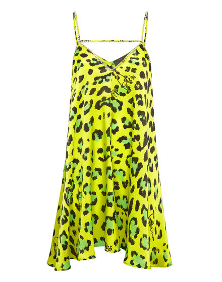 Satin Short Dress Leopard