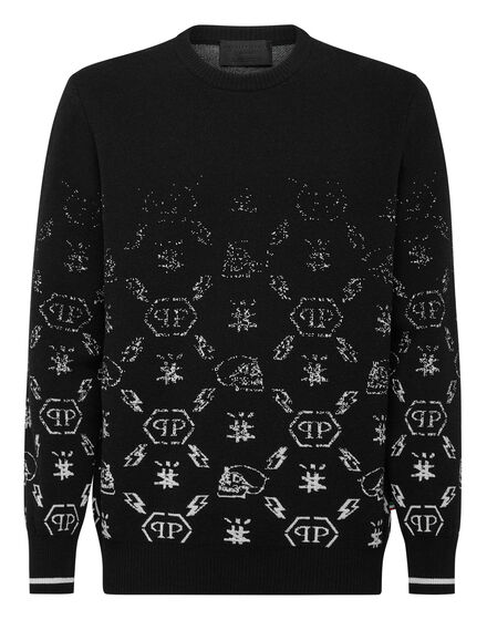 Wool Pullover Round Neck LS Jacquard Degradè Monogram
