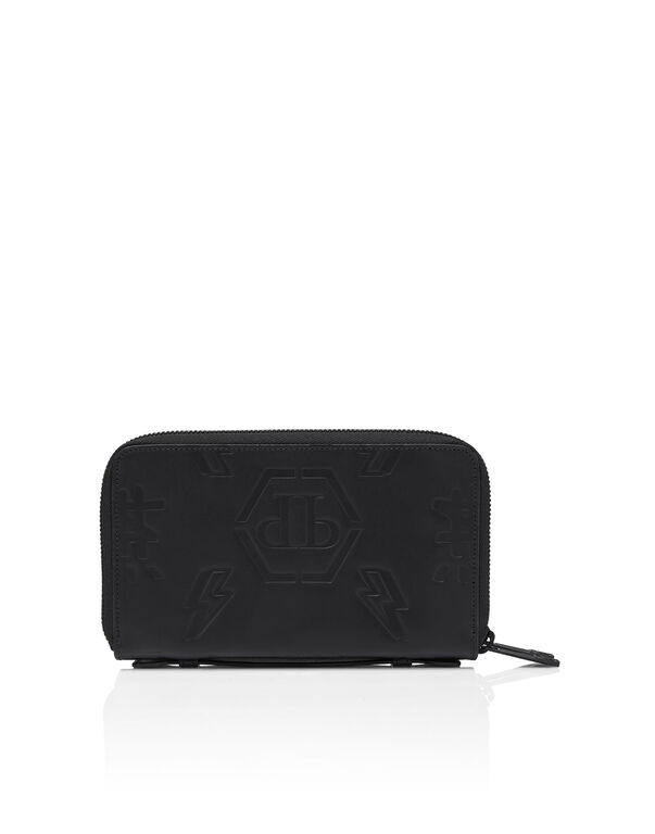 Leather Double zip around Monogram