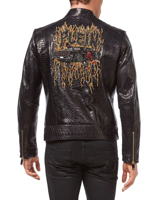 "Leather Moto Jacket ""Python car"""