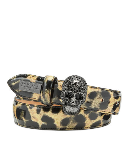 Patent Leather Belt Leopard