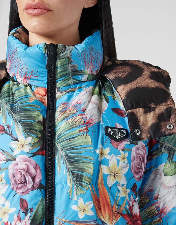 Reversible Nylon Long Jacket Iconic Plein