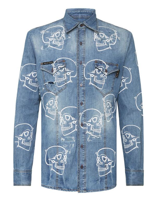 Denim Shirt Ls Allover outline Skull