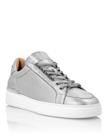 Laminated Leather Lo-Top Sneakers Silver $urfer TM