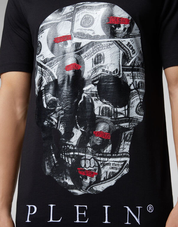 T-shirt Black Cut V-Neck Dollar