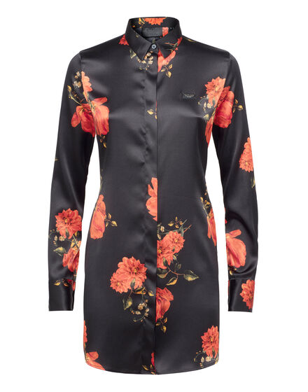 Shirt Black And Roses - Slim Fit