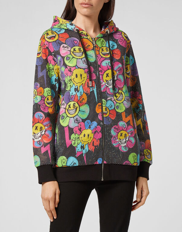 Hoodie Sweatjacket Crystal Flowers