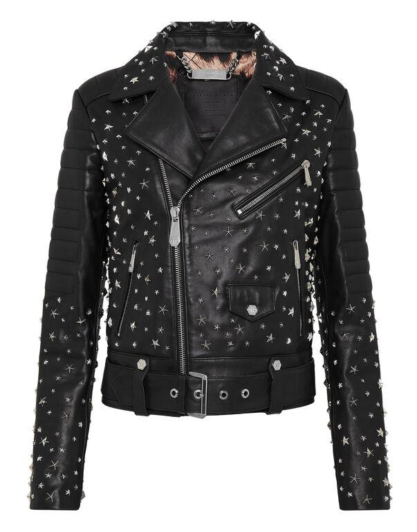 Leather Biker oversize stars Studs