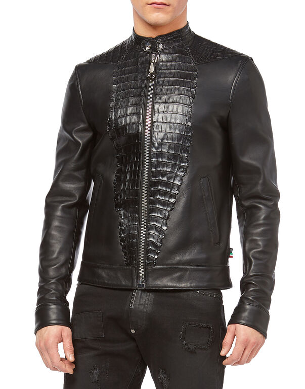 "Leather Bomber ""Shield"""