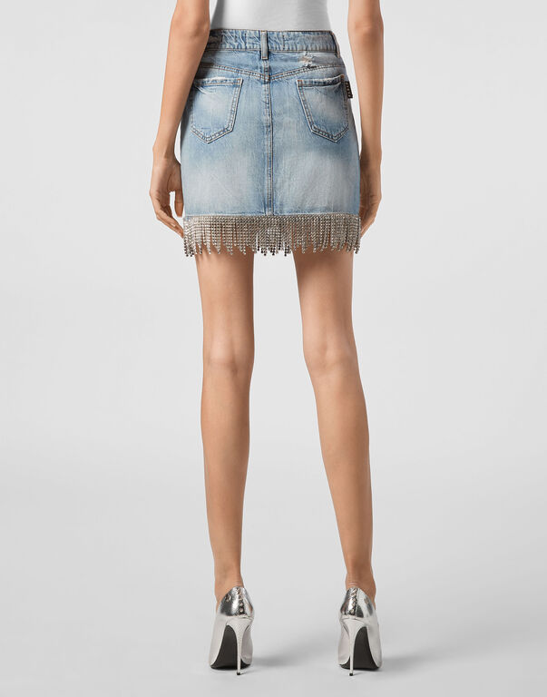Denim Skirt Crystal Fringe