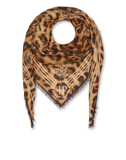 Shawl All over Skull Leopard