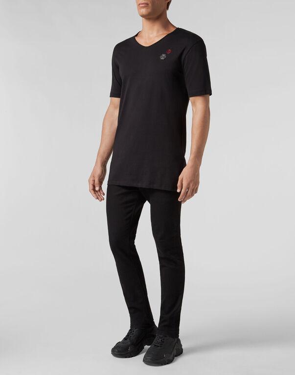 T-shirt Black Cut V-Neck Gothic Plein