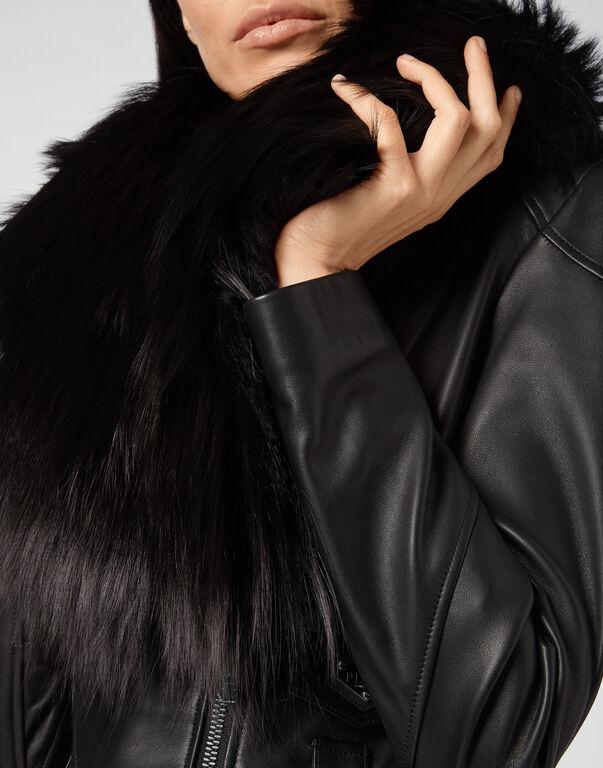 Leather Biker Fur Collar Iconic Plein