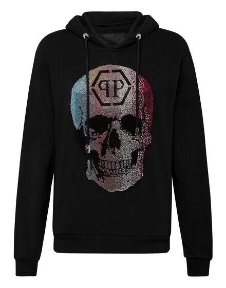 Hoodie sweatshirt Rainbow Skull strass