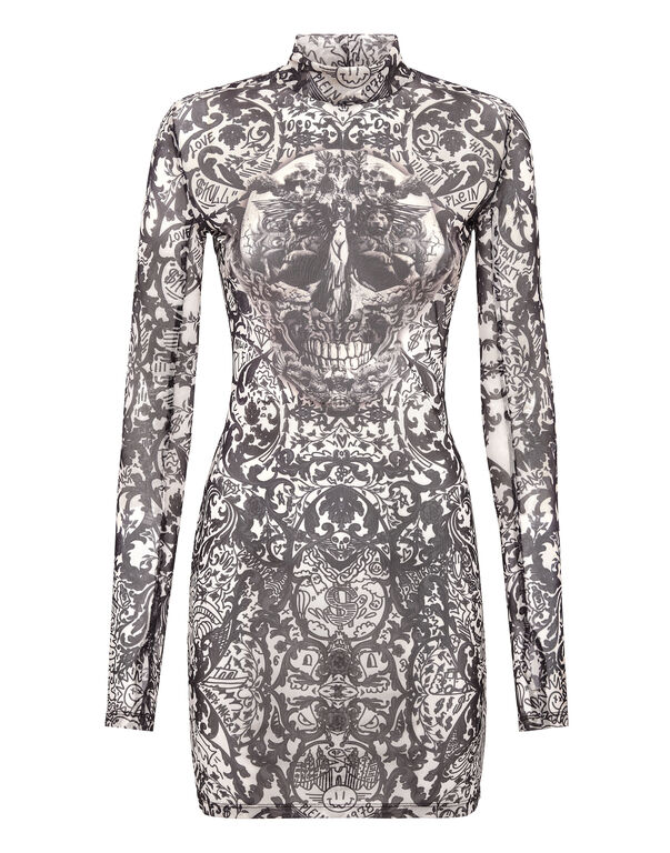 Short Dress Stretch Printed Tulle New Baroque