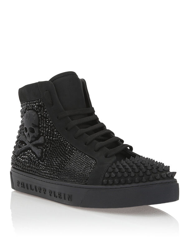 "Hi-Top Sneakers ""Shiny Big Skull"""