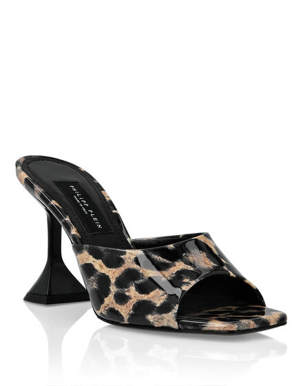 Patent Leather Sandals Mid Heels Leopard