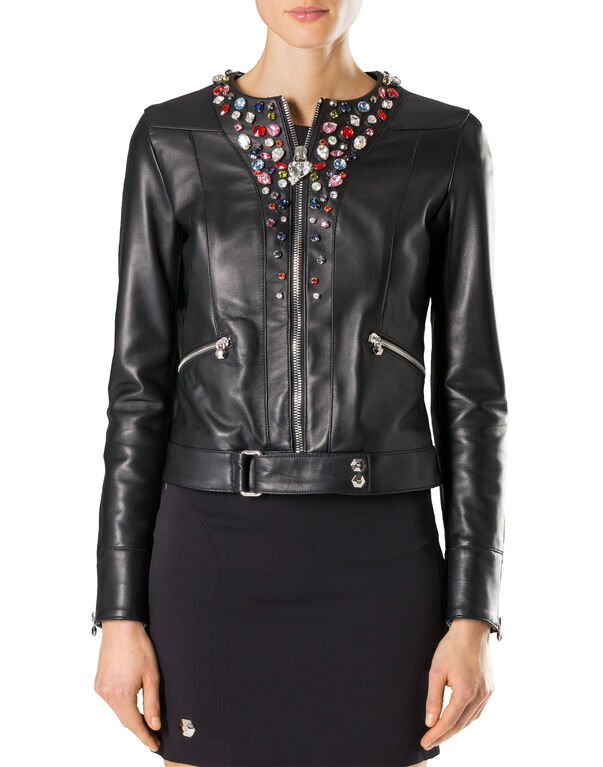 """Leather Jacket """"Shiny Skull"""""""