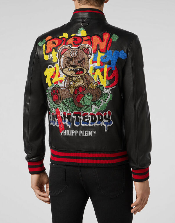 Leather Bomber Teddy Bear