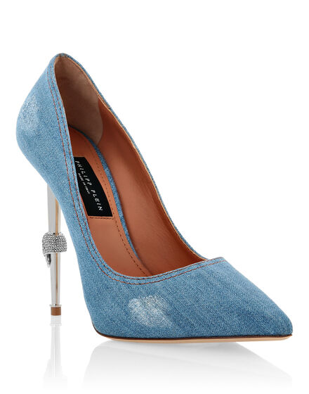Denim Decollete Hi-Heels Destroyed