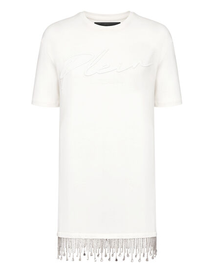 Leisurewear T-shirt Dress Crystal Fringe Embroidered Signature