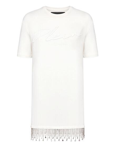 Leisurewear T-shirt Dress Crystal Fringe Embroidered Signature