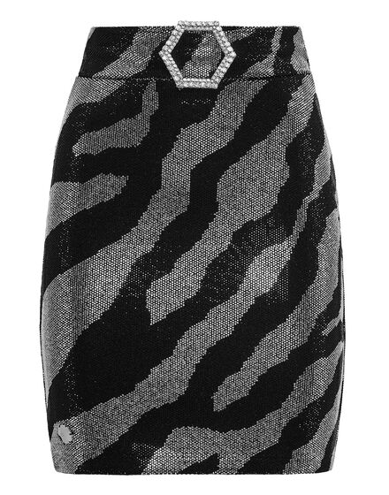 Short Skirt Exagonal Crystal Zebra