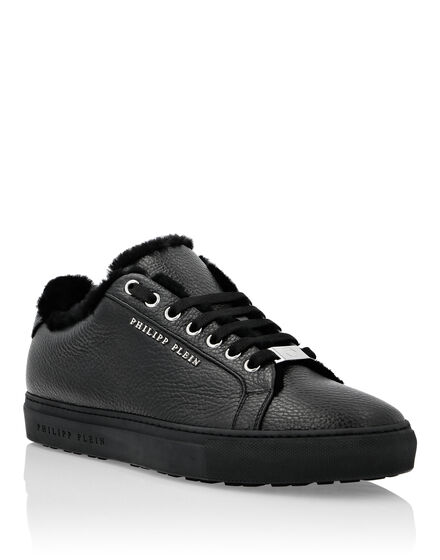 Lo-Top Sneakers Fur and Grained Leather