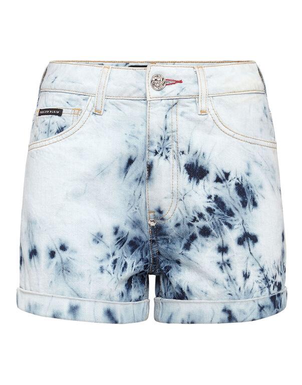 Denim High waist Hot pants Bleached