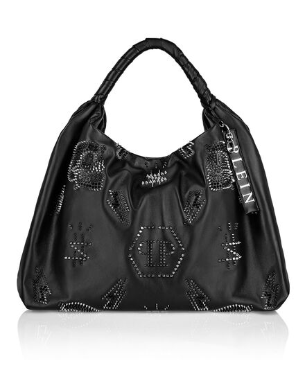 Leather Hobo Bag studs Monogram