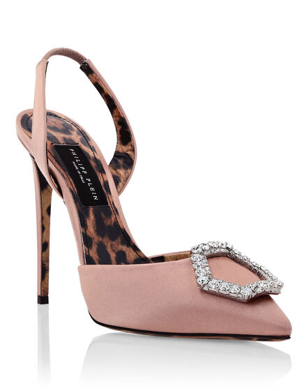 Satin Decollete slingback Hi-Heels Crystal Hexagon