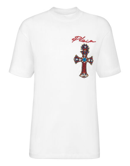 T-shirt Round Neck SS Baroque cross