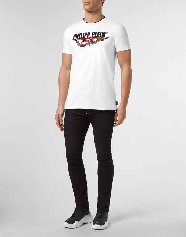 T-shirt Gold Cut Round Neck Flame