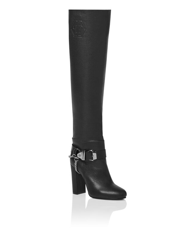 Leather Boots High Heels High Embossed Hexagon