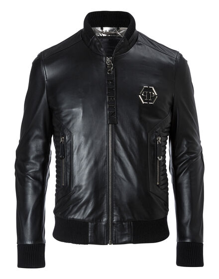 Leather Bomber Exagonal