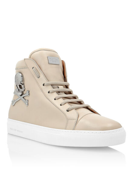 Leather Hi-Top Sneakers Skull