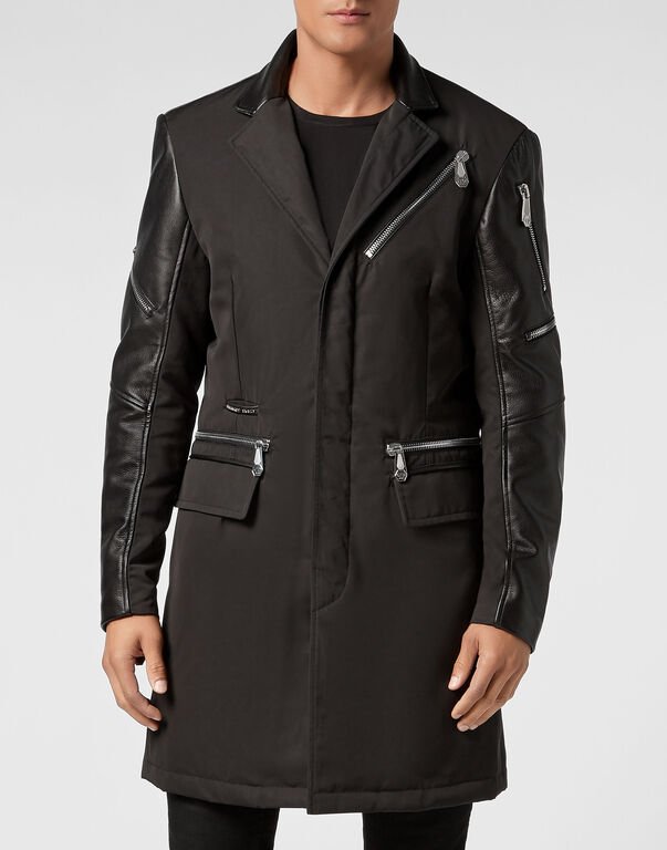 Nylon Coat Long Zipped