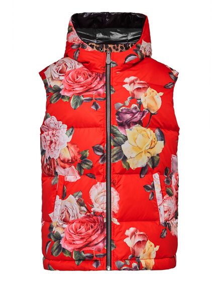 Puffer Short Vest Painted Flowers