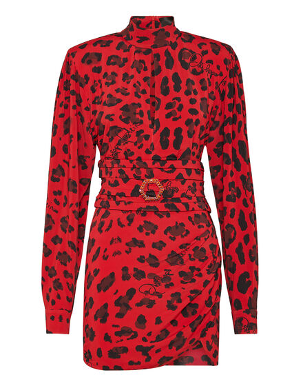 Viscose Short Dress Leopard