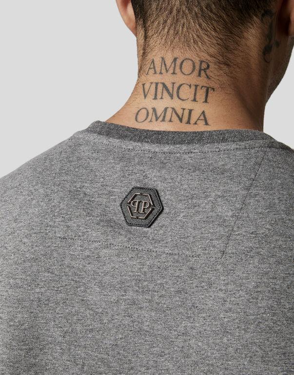 T-shirt Black Cut Round Neck Rock PP