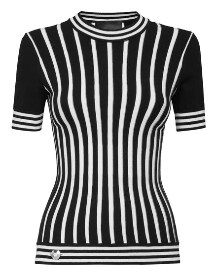 Pullover Round Neck SS Intarsia Stripes