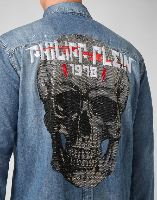 Denim Shirt Ls Skull crystal