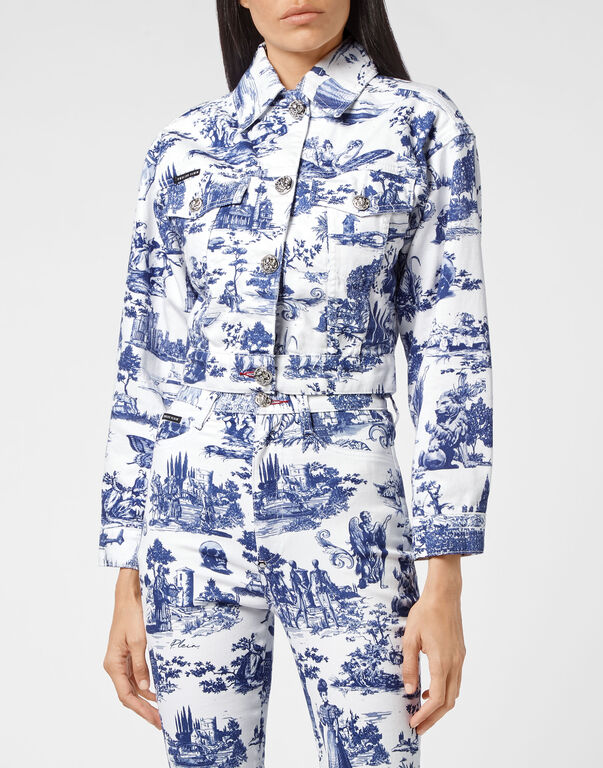 Denim Jacket Cropped Print En PLEIN air