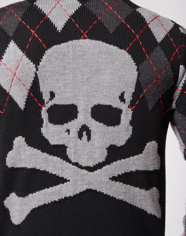 Knit hoodie jacket Tartan