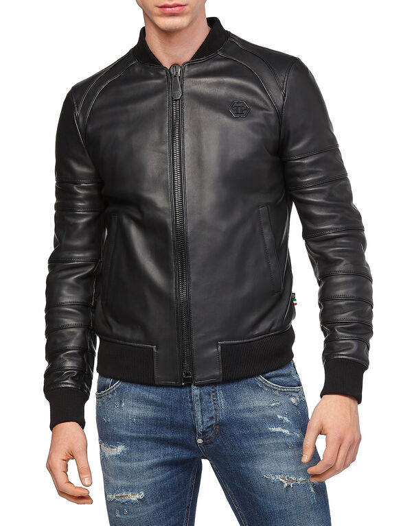 "Leather Bomber ""Believe"""